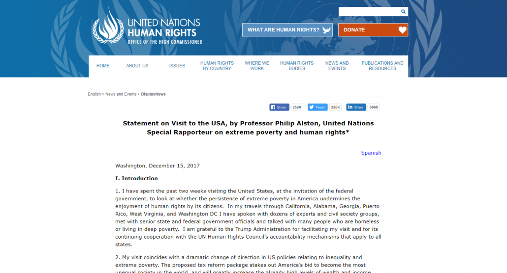 Statement on Visit to the USA, by Professor Philip Alston, United Nations Special Rapporteur on extreme poverty and human rights | OHCHR